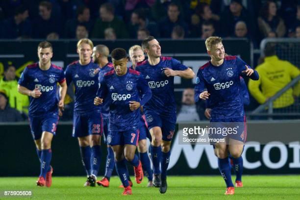 Matthijs de Ligt of Ajax celebrates 05 with Joel Veltman of Ajax Kasper Dolberg of Ajax Hakim Ziyech of Ajax David Neres of Ajax Donny van de Beek of...