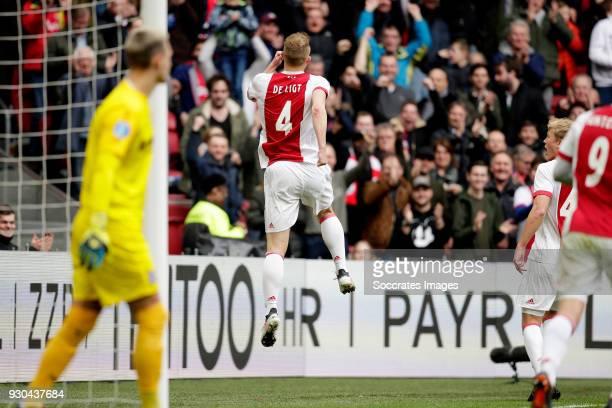 Matthijs de Ligt of Ajax celebrates 10 during the Dutch Eredivisie match between Ajax v SC Heerenveen at the Johan Cruijff Arena on March 11 2018 in...