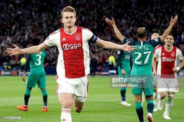 Matthijs de Ligt of Ajax celebrates 10 during the UEFA Champions League match between Ajax v Tottenham Hotspur at the Johan Cruijff Arena on May 8...