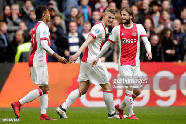 Matthijs de Ligt of Ajax celebrates 10 with David Neres of Ajax Lasse Schone of Ajax during the Dutch Eredivisie match between Ajax v SC Heerenveen...