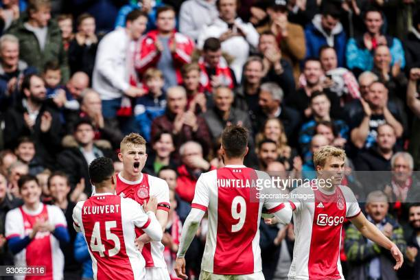 Matthijs de Ligt of Ajax celebrates 10 with Justin Kluivert of Ajax Klaas Jan Huntelaar of Ajax Rasmus Kristensen of Ajax during the Dutch Eredivisie...