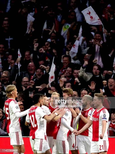 Matthijs de Ligt of Ajax celebrates 10 with Kasper Dolberg of Ajax Noussair Mazraoui of Ajax Dusan Tadic of Ajax Daley Blind of Ajax Donny van de...