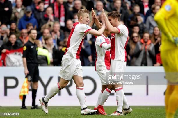 Matthijs de Ligt of Ajax celebrates 10 with Maximilian Wober of Ajax during the Dutch Eredivisie match between Ajax v SC Heerenveen at the Johan...