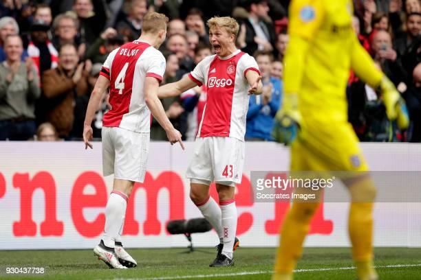 Matthijs de Ligt of Ajax celebrates 10 with Rasmus Kristensen of Ajax during the Dutch Eredivisie match between Ajax v SC Heerenveen at the Johan...