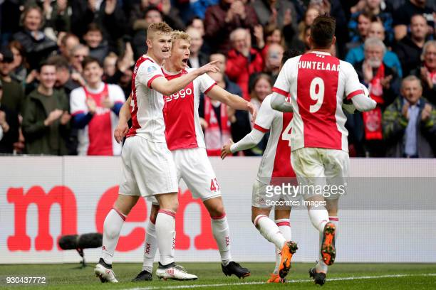 Matthijs de Ligt of Ajax celebrates 10 with Rasmus Kristensen of Ajax Justin Kluivert of Ajax Klaas Jan Huntelaar of Ajax during the Dutch Eredivisie...