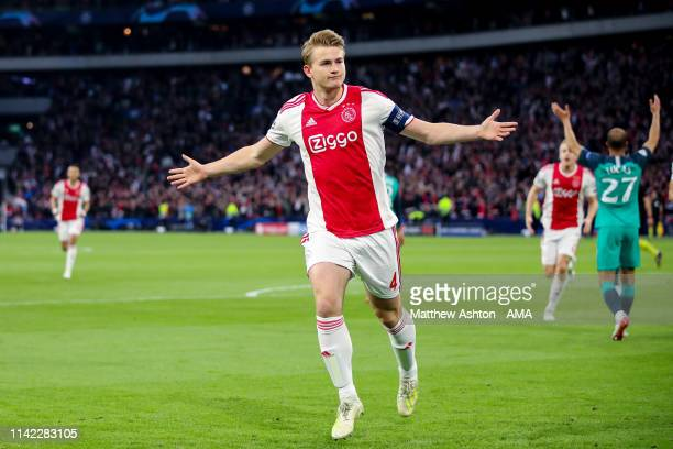 Matthijs de Ligt of Ajax celebrates after scoring a goal to make it 10 during the UEFA Champions League Semi Final second leg match between Ajax and...
