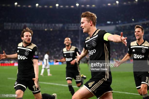 Matthijs de Ligt of Ajax celebrates after scoring his team's second goal during the UEFA Champions League Quarter Final second leg match between...