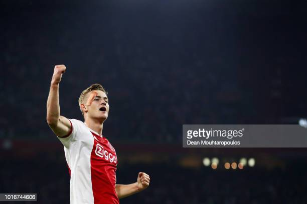 Matthijs de Ligt of Ajax celebrates scoring his teams second goal of the game during the UEFA Champions League third round qualifying match between...