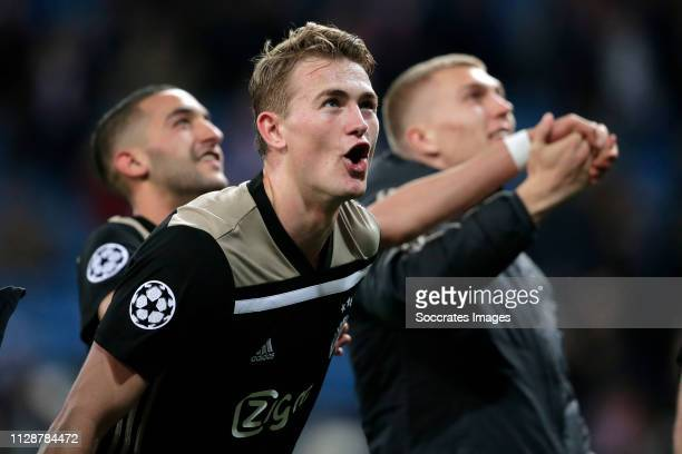 Matthijs de Ligt of Ajax celebrates the victory during the UEFA Champions League match between Real Madrid v Ajax at the Santiago Bernabeu on March 5...
