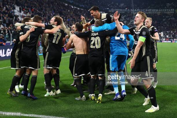 Matthijs de Ligt of Ajax celebrates victory with his team after the UEFA Champions League Quarter Final second leg match between Juventus and Ajax at...