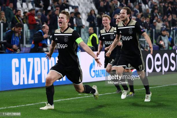 Matthijs de Ligt of Ajax celebrates victory with his team mates after the UEFA Champions League Quarter Final second leg match between Juventus and...