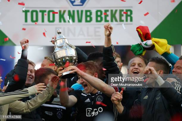 Matthijs de Ligt of Ajax celebrates with the trophy following the Dutch Toto KNVB Cup Final between Willem II and Ajax at De Kuip on May 05 2019 in...