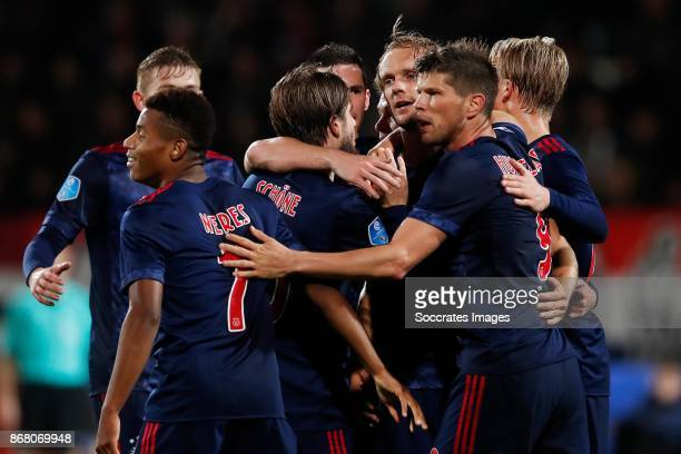 Matthijs de Ligt of Ajax David Neres of Ajax Lasse Schone of Ajax Nick Viergever of Ajax Daley Sinkgraven of Ajax Siem de Jong of Ajax Klaas Jan...