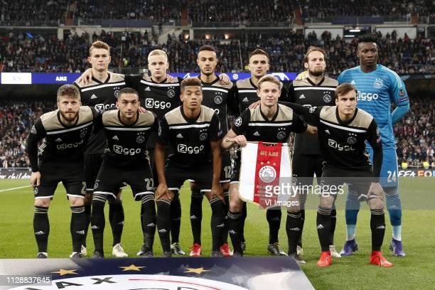 Matthijs de Ligt of Ajax, Donny van de Beek of Ajax, Noussair Mazraoui of Ajax, Dusan Tadic of Ajax, Daley Blind of Ajax, Ajax goalkeeper Andre Onana...