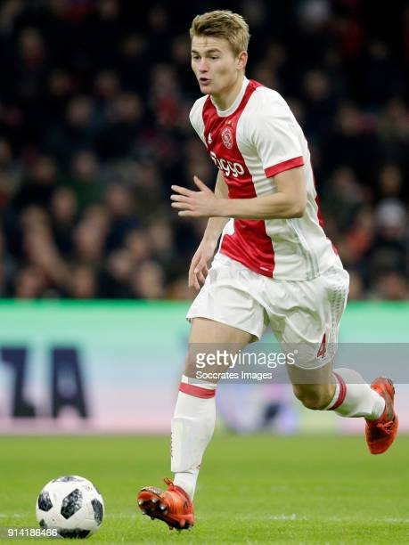 Matthijs de Ligt of Ajax during the Dutch Eredivisie match between Ajax v NAC Breda at the Johan Cruijff Arena on February 4 2018 in Amsterdam...