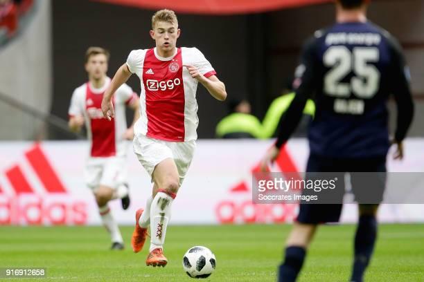 Matthijs de Ligt of Ajax during the Dutch Eredivisie match between Ajax v Fc Twente at the Johan Cruijff Arena on February 11 2018 in Amsterdam...