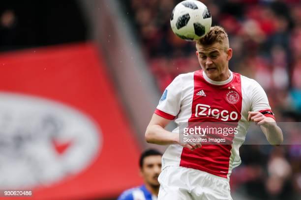 Matthijs de Ligt of Ajax during the Dutch Eredivisie match between Ajax v SC Heerenveen at the Johan Cruijff Arena on March 11 2018 in Amsterdam...