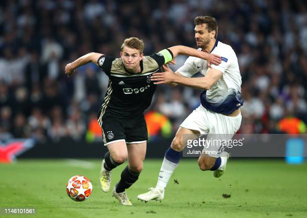 Matthijs de Ligt of Ajax evades Fernando Llorente of Tottenham Hotspur during the UEFA Champions League Semi Final first leg match between Tottenham...