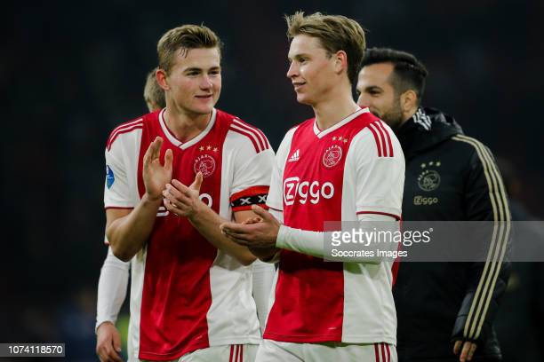 Matthijs de Ligt of Ajax Frenkie de Jong of Ajax celebrate the victory after the game during the Dutch Eredivisie match between Ajax v De Graafschap...