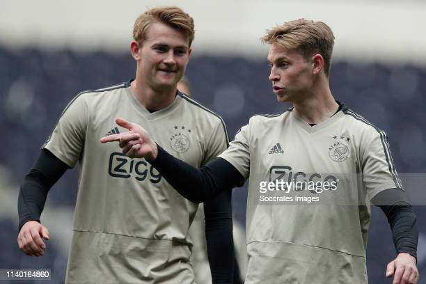 Matthijs de Ligt of Ajax Frenkie de Jong of Ajax during the Training Session Ajax at the Tottenham Hotspur Stadium on April 29 2019 in London United...