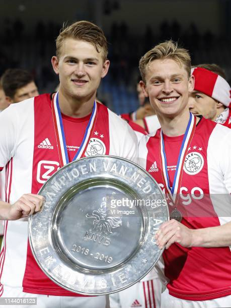 Matthijs de Ligt of Ajax Frenkie de Jong of Ajax with the trophy dish during the Dutch Eredivisie match between De Graafschap Doetinchem and Ajax...