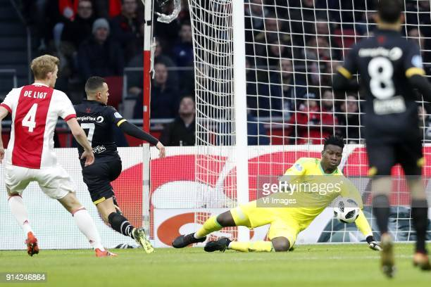 Matthijs de Ligt of Ajax Giovanni Korte of NAC Breda goalkeeper Andre Onana of Ajax during the Dutch Eredivisie match between Ajax Amsterdam and NAC...