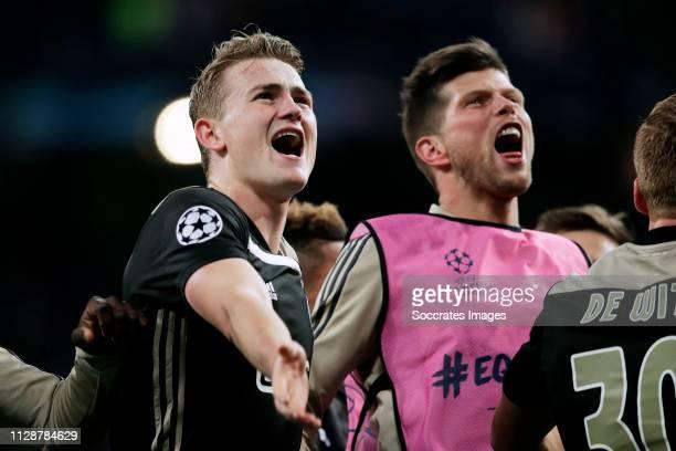 Matthijs de Ligt of Ajax Klaas Jan Huntelaar of Ajax celebrates the victory during the UEFA Champions League match between Real Madrid v Ajax at the...
