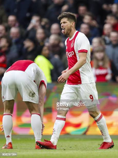 Matthijs de Ligt of Ajax Klaas Jan Huntelaar of Ajax during the Dutch Eredivisie match between Ajax Amsterdam and Feyenoord Rotterdam at the...