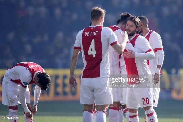 Matthijs de Ligt of Ajax Lasse Schone of Ajax during the Dutch Eredivisie match between Sparta v ADO Den Haag at the Sparta Stadium Het Kasteel on...