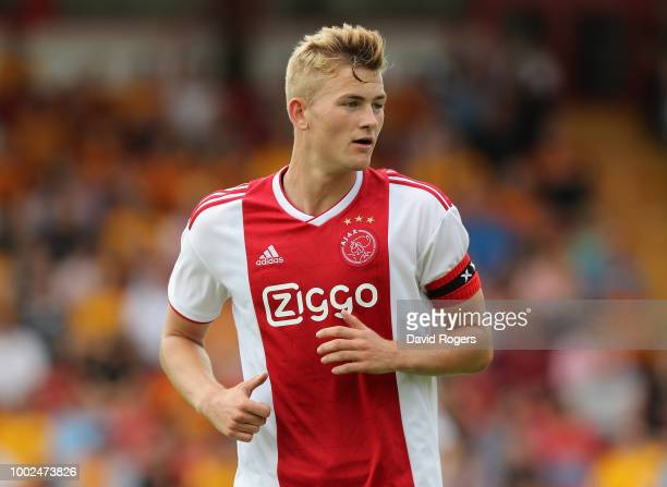 Matthijs de Ligt of Ajax looks on during the pre seaon friendly match between Wolverhampton Wanderers and Ajax at the Banks' Stadium on July 19 2018...