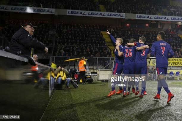 Matthijs de Ligt of Ajax Nick Viergever of Ajax Lasse Schone of Ajax Joel Veltman of Ajax David Neres of Ajax during the Dutch Eredivisie match...