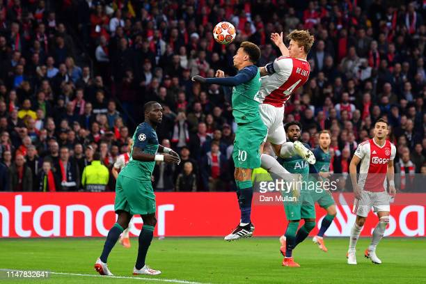 Matthijs de Ligt of Ajax scores his sides first goal during the UEFA Champions League Semi Final second leg match between Ajax and Tottenham Hotspur...
