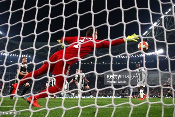 Matthijs de Ligt of Ajax scores his team's second goal past Wojciech Szczesny of Juventus during the UEFA Champions League Quarter Final second leg...