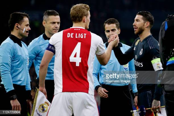 Matthijs de Ligt of Ajax Sergio Ramos of Real Madrid during the UEFA Champions League match between Ajax v Real Madrid at the Johan Cruijff Arena on...
