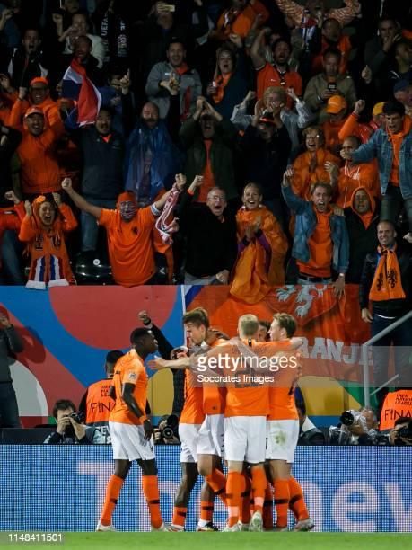 Matthijs de Ligt of Holland celebrates 11 with Quincy Promes of Holland Donny van de Beek of Holland Frenkie de Jong of Holland during the UEFA...