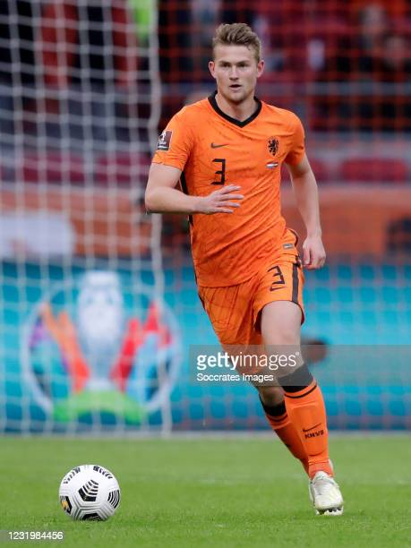 Matthijs de Ligt of Holland during the World Cup Qualifier match between Holland v Latvia at the Johan Cruijff Arena on March 27, 2021 in Amsterdam...