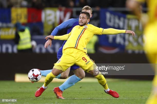 Matthijs de Ligt of Holland Florin Andone of Romania during the friendly match between Romania and The Netherlands on November 14 2017 at Arena...