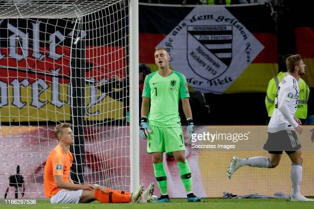 Matthijs de Ligt of Holland Jasper Cillessen of Holland during the EURO Qualifier match between Germany v Holland at the Volkspark Stadium on...