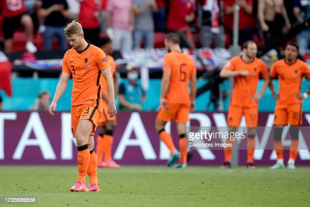 Matthijs de Ligt of Holland leaves the pitch after a red card during the EURO match between Holland v Czech Republic at the Puskas Arena on June 27,...