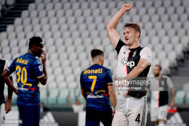 Matthijs de Ligt of Juventus celebrates 4-0 during the Italian Serie A match between Juventus v Lecce at the Allianz Stadium on June 26, 2020 in...