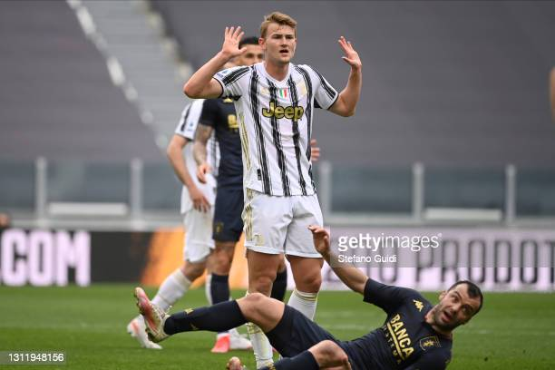 Matthijs de Ligt of Juventus FC reacts during the Serie A match between Juventus and Genoa CFC at Allianz Stadium on April 11, 2021 in Turin, Italy....