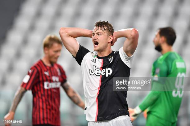 Matthijs de Ligt of Juventus reacts during the Coppa Italia Semi-Final Second Leg match between Juventus and AC Milan at Allianz Stadium on June 12,...