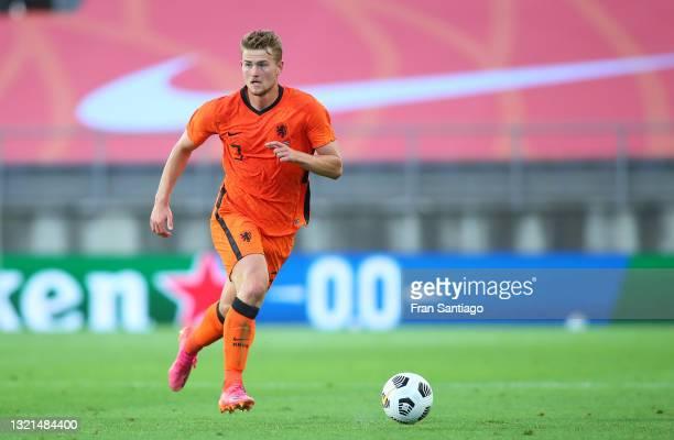 Matthijs de Ligt of Netherlands in action during the international friendly match between Netherlands and Scotland at Estadio Algarve on June 02,...