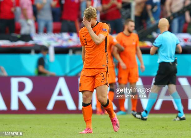 Matthijs de Ligt of Netherlands looks dejected after being shown a red card during the UEFA Euro 2020 Championship Round of 16 match between...
