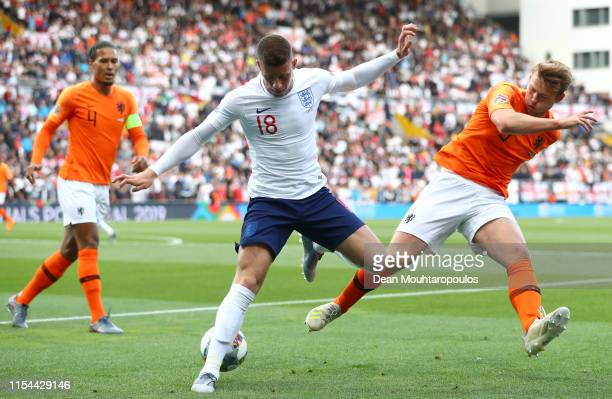 Matthijs de Ligt of The Netherlands battles for the ball with Ross Barkley of England during the UEFA Nations League SemiFinal match between the...