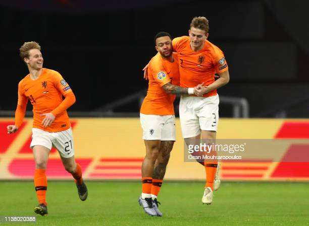 Matthijs de Ligt of the Netherlands (celebrates after scoring his team's first goal with Memphis Depay during the 2020 UEFA European Championships...