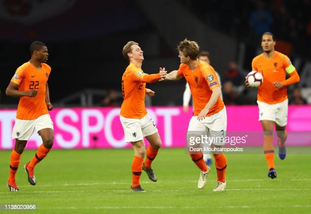 Matthijs de Ligt of the Netherlands celebrates after scoring his team's first goal with Frenkie de Jong during the 2020 UEFA European Championships...