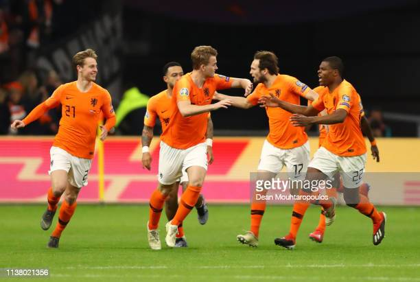 Matthijs de Ligt of the Netherlands celebrates after scoring his team's first goal with team mates during the 2020 UEFA European Championships Group...