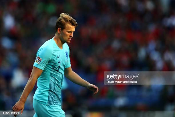 Matthijs de Ligt of The Netherlands looks on during the UEFA Nations League Final between Portugal and the Netherlands at Estadio do Dragao on June...