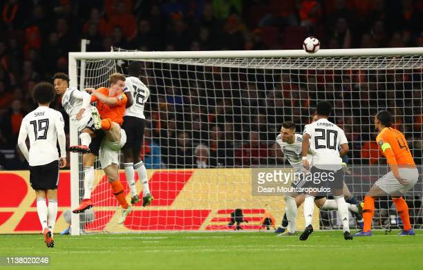 Matthijs de Ligt of the Netherlands scores his team's first goal during the 2020 UEFA European Championships Group C qualifying match between...